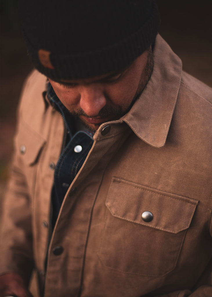 Iron & Resin Rider Jacket with Snap Button Pockets in Beige