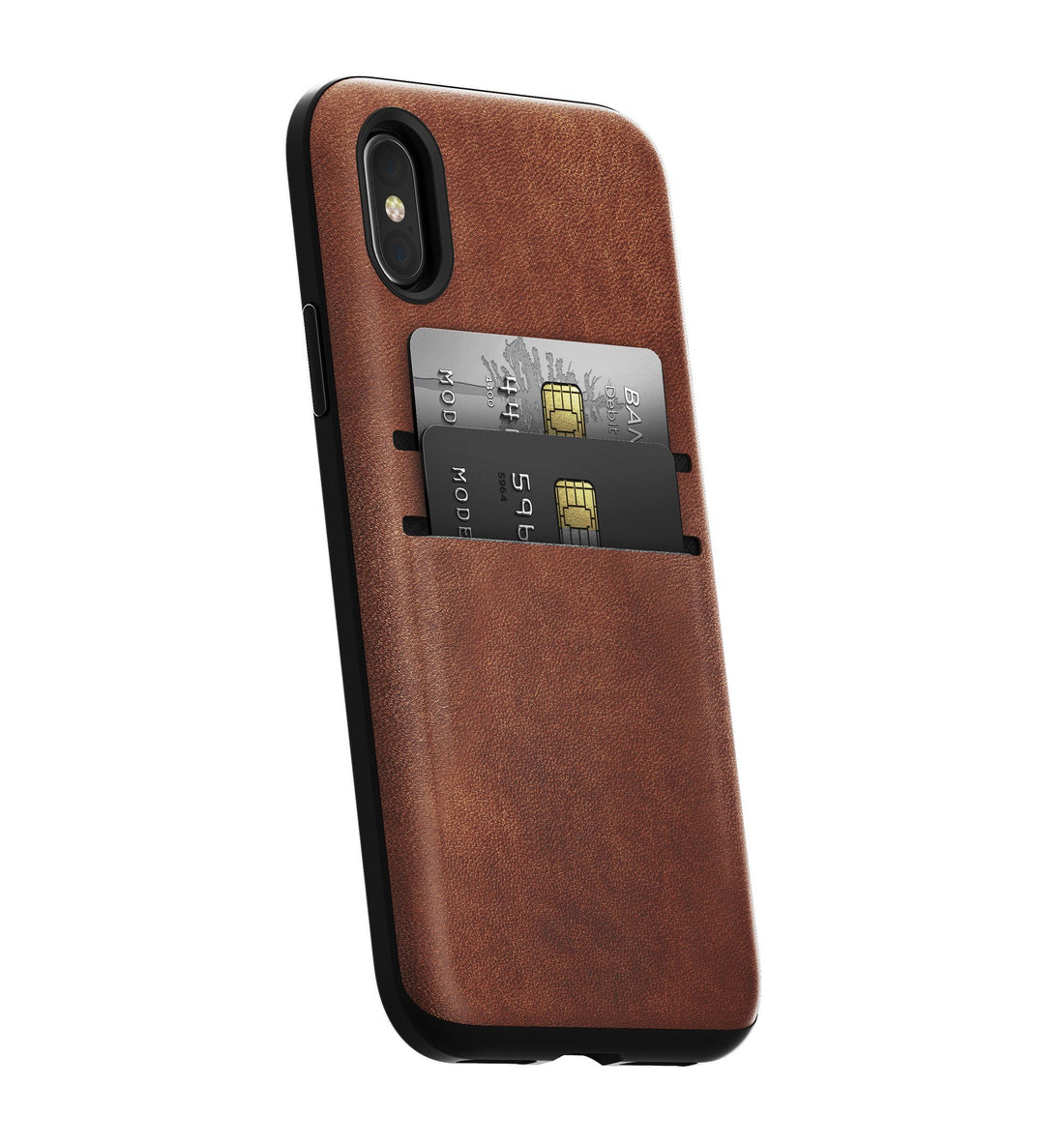 Nomad Rugged Leather Wallet Case - Rustic Brown - iPhone X - Carry Essentials - Iron and Resin
