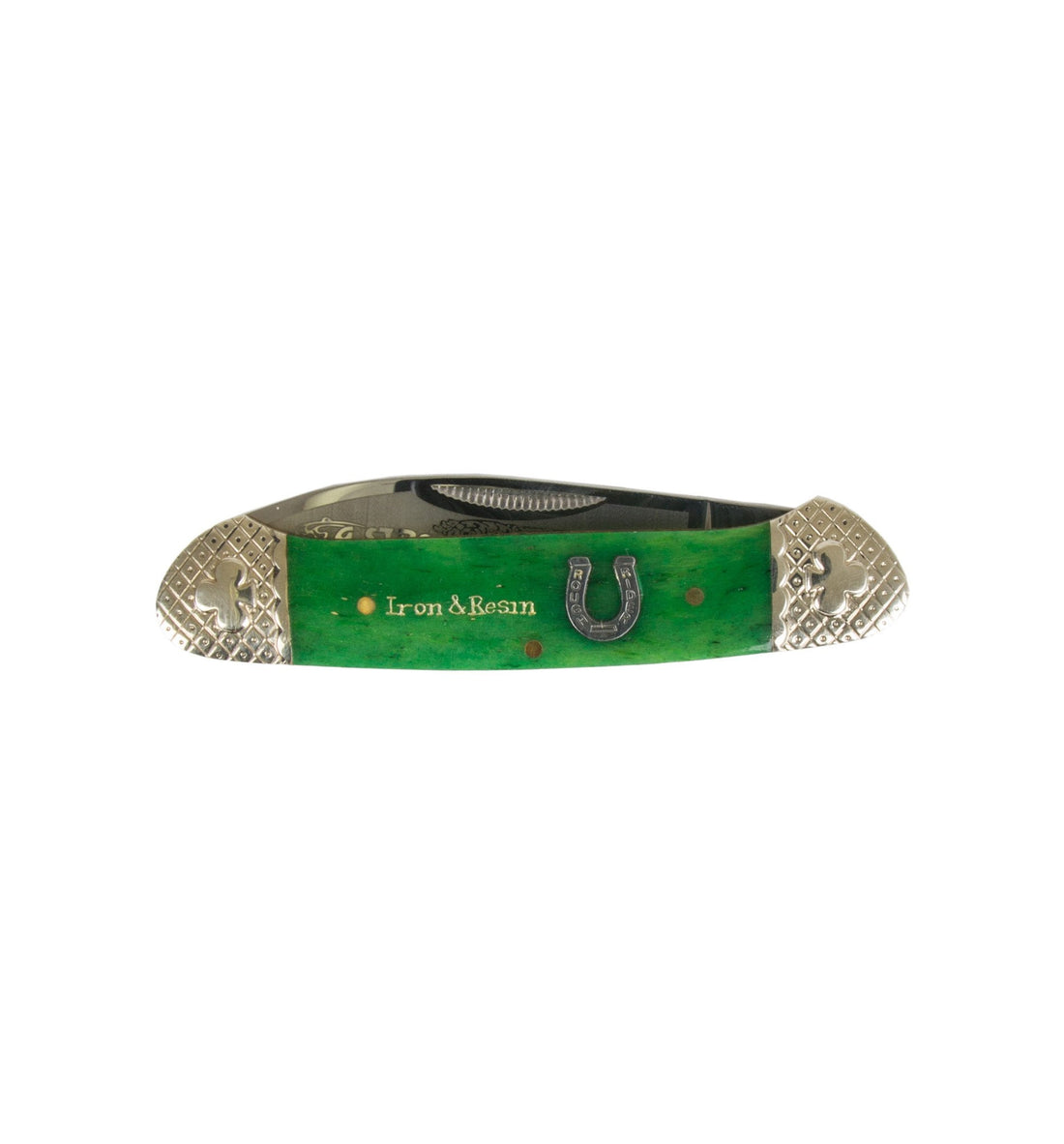 Scrimshaw Canoe Pocket Knife - Emerald Claddagh - Accessories: Knives - Iron and Resin