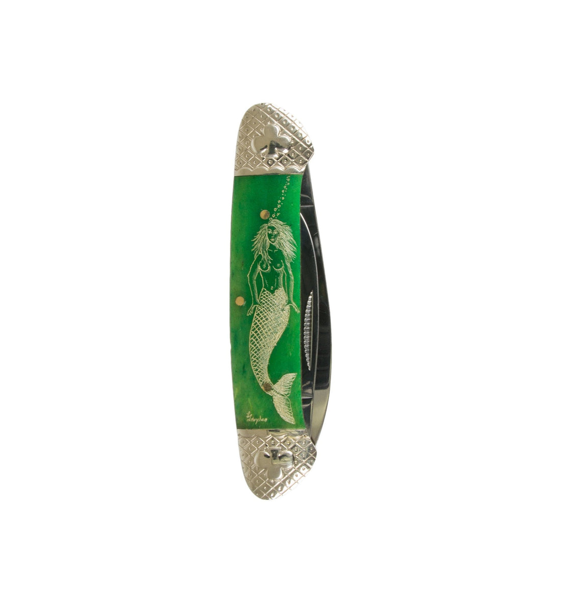 Scrimshaw Canoe Pocket Knife - Emerald Mermaid - Accessories: Knives - Iron and Resin