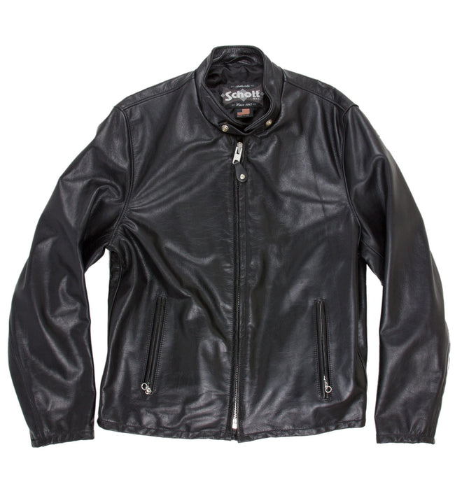 Schott Midweight Cowhide Fitted Cafe Racer - Apparel: Men's: Outerwear - Iron and Resin
