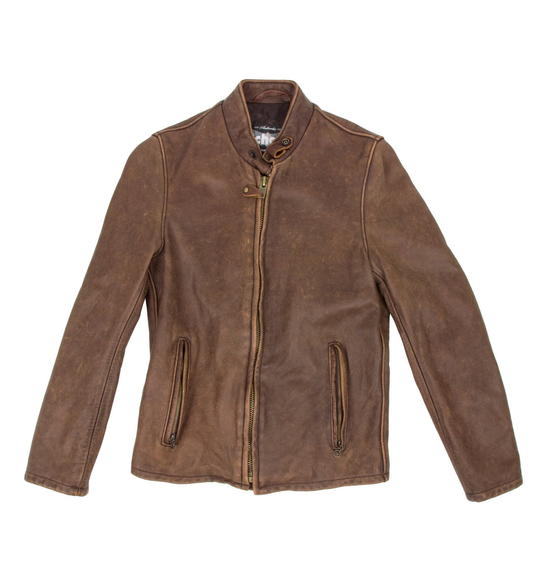 Schott Vintaged Cowhide Cafe Racer Leather Jacket - Apparel: Men's: Outerwear - Iron and Resin