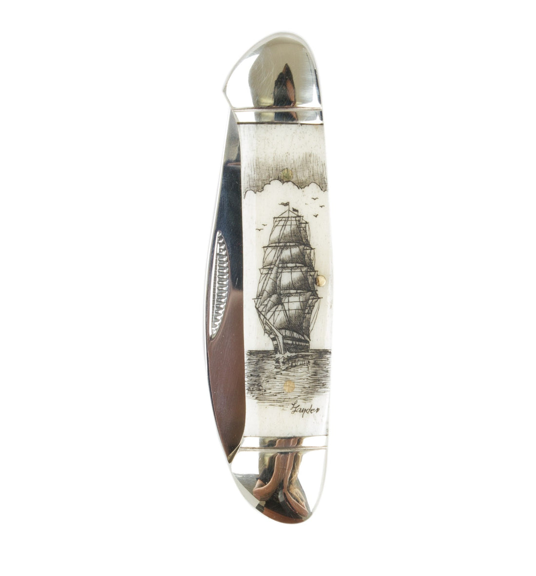 Scrimshaw Canoe Pocket Knife - Accessories: Knives - Iron and Resin