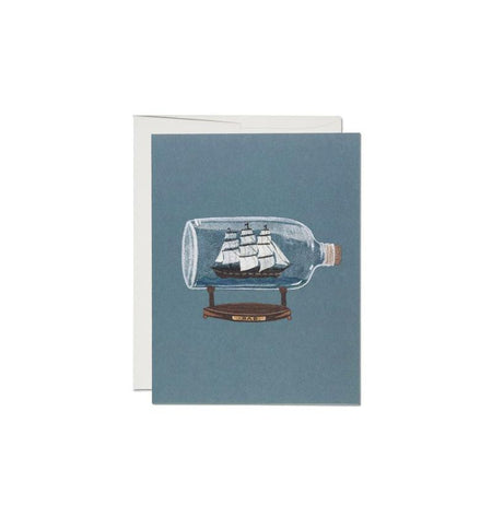 Red Cap Cards, Ship in a Bottle - Art/Prints - Iron and Resin