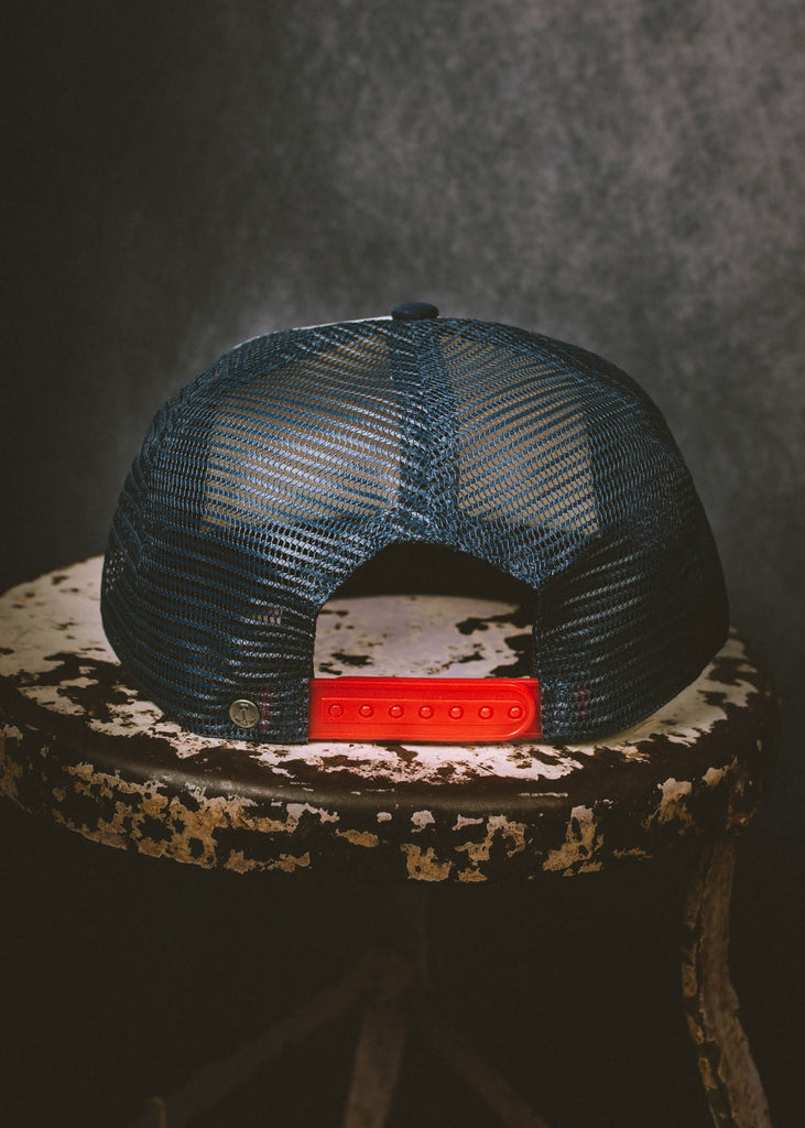 Iron & Resin Speedway Hat with Red Snapback in Navy