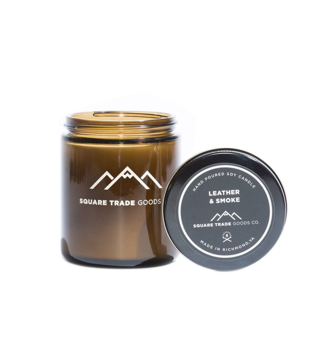 Square Trade Goods Candle - Leather & Smoke - Home Essentials - Iron and Resin