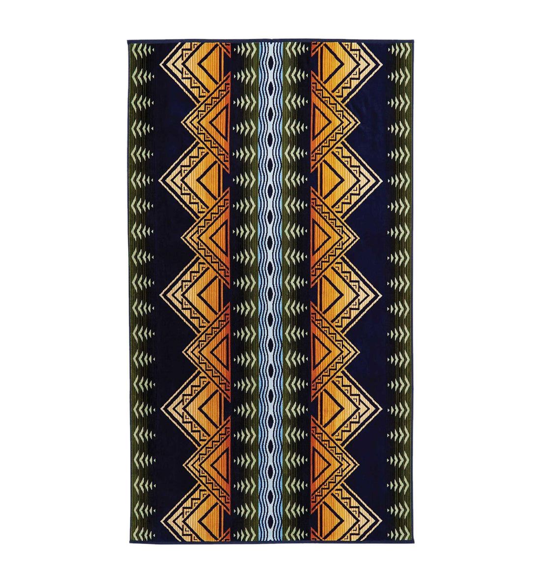Pendleton Woolen Mills Oversized Jacquard Towel - American Treasure Midnight - Outdoor Living/Travel - Iron and Resin