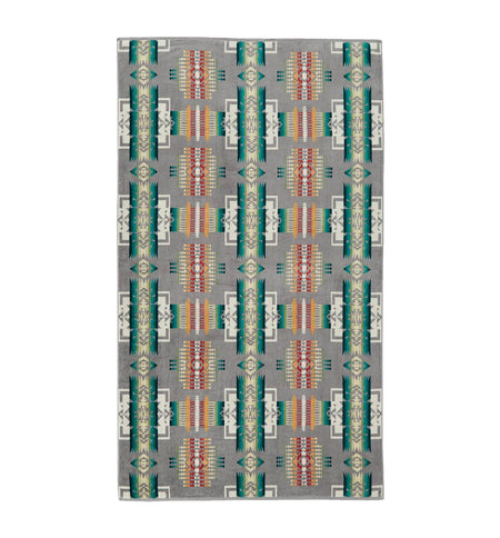 Pendleton Woolen Mills Oversized Jacquard Towel - Chief Joseph Grey - Outdoor Living/Travel - Iron and Resin