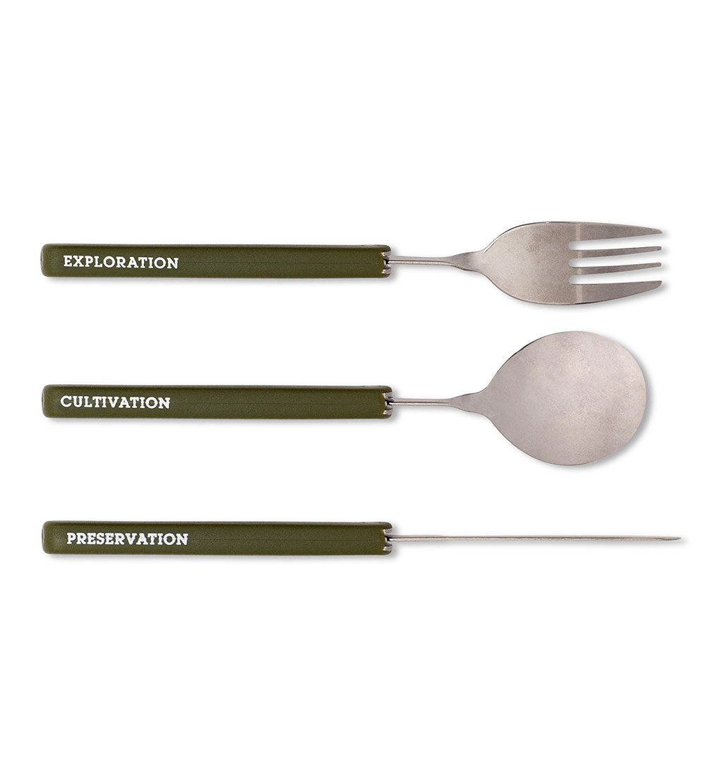 Izola Travel Cutlery - Green - Outdoor Living/Travel - Iron and Resin