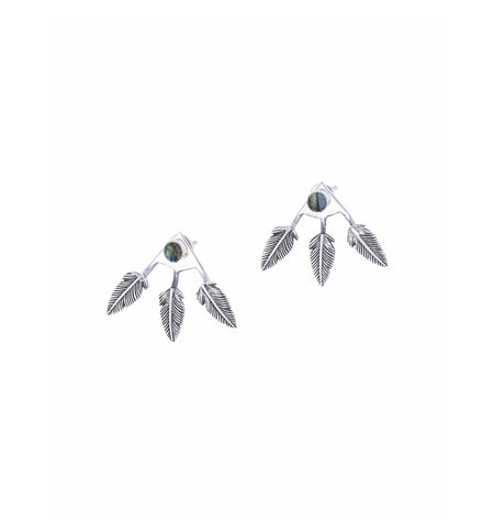 Triple Feather Stud Ear Jackets, Sterling Silver, Labradorite - Jewelry - Iron and Resin