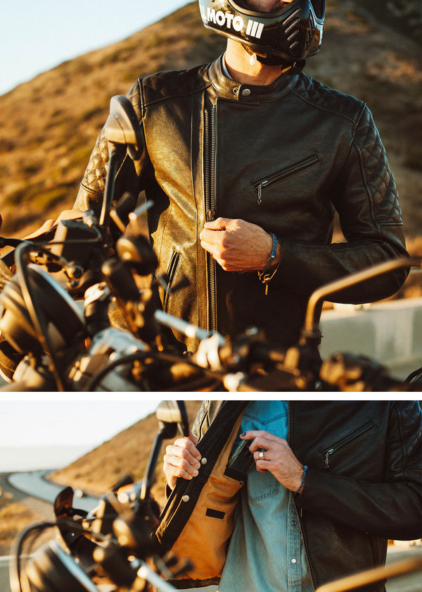 Iron & Resin Truckston Moto Jacket in 1.1mm Veg Tanned Black Leather