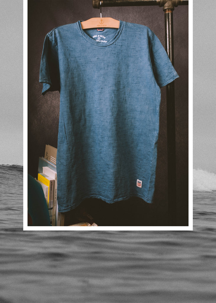 Iron & Resin True Blue Indigo Solid Tee in Light Indigo