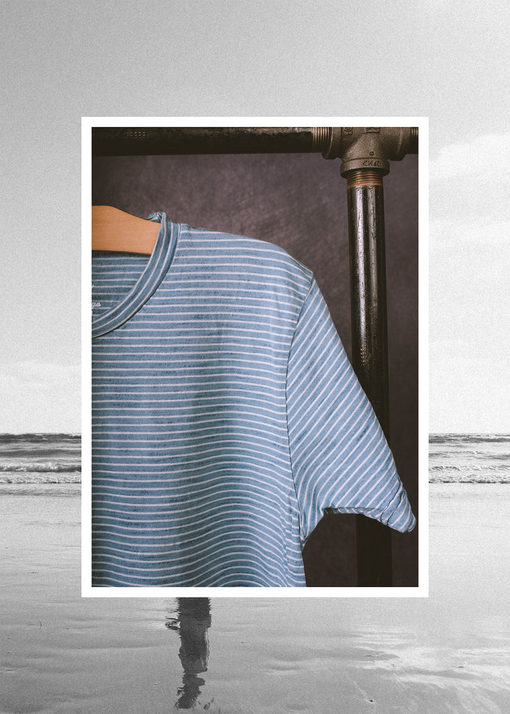 Iron & Resin True Blue Indigo Stripe Tee in Light Indigo Stripe