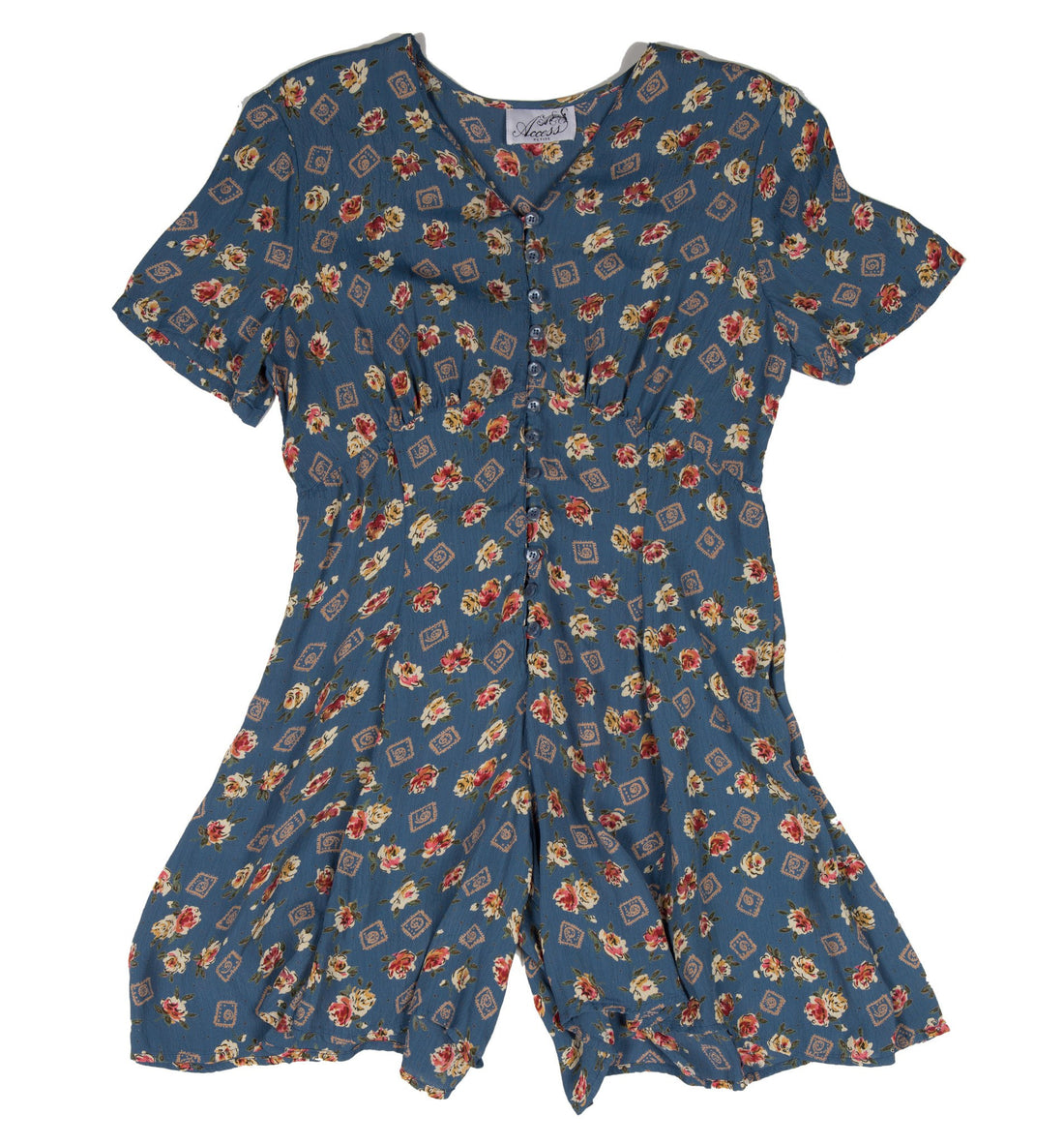 Vintage Blue&Micro Floral Short Romper - Vintage: Women's: Apparel - Iron and Resin