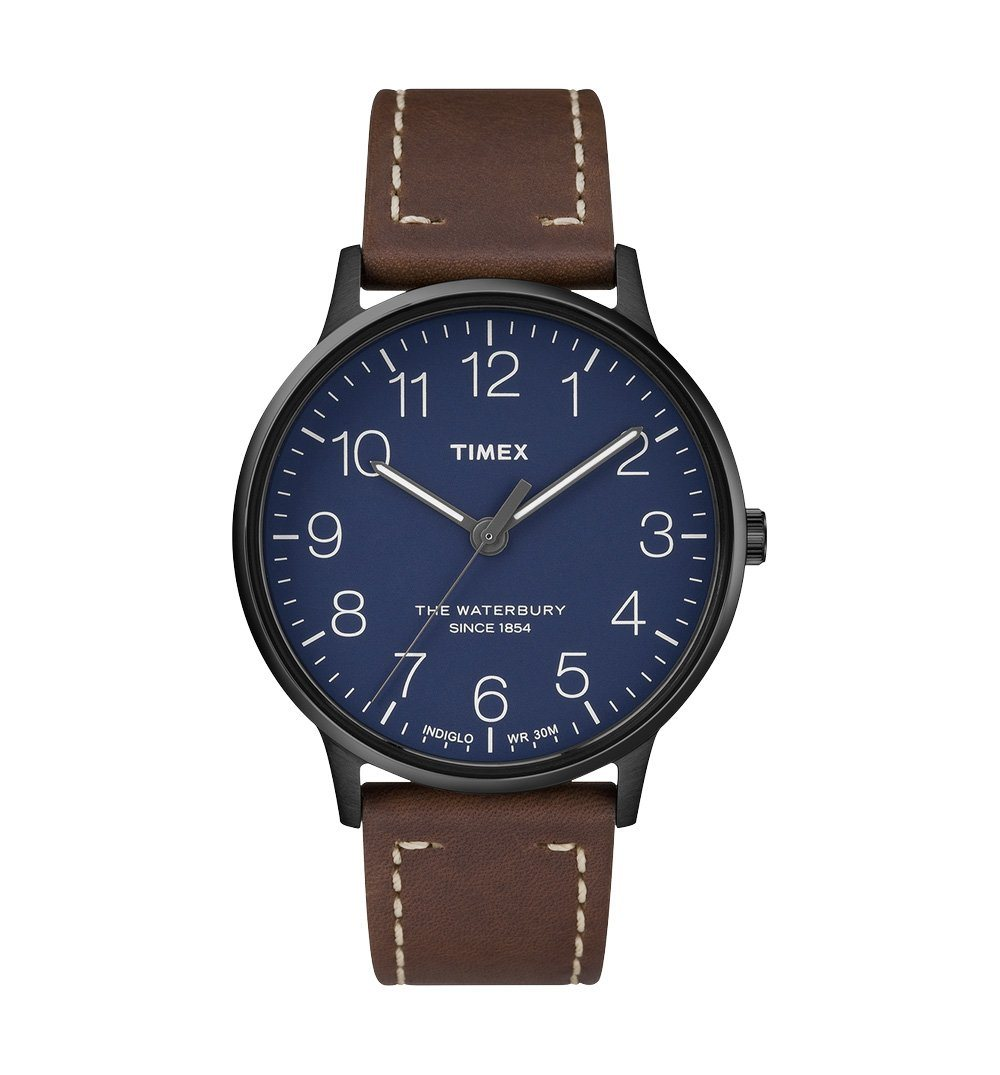 Timex Waterbury Classic - Black stainless steel case, blue dial ...