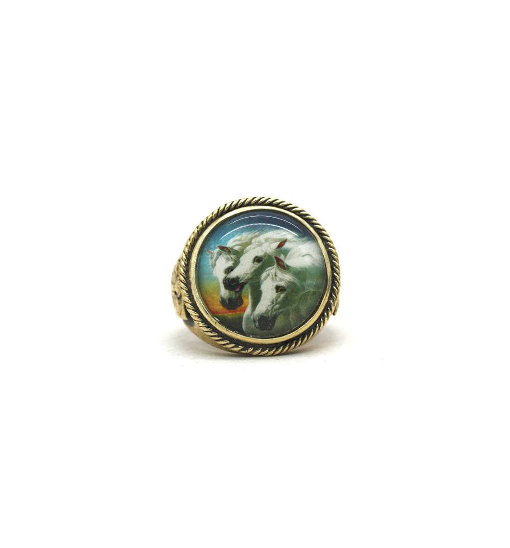 Repop Mfg - Wild Horses Image Ring - Jewelry - Iron and Resin