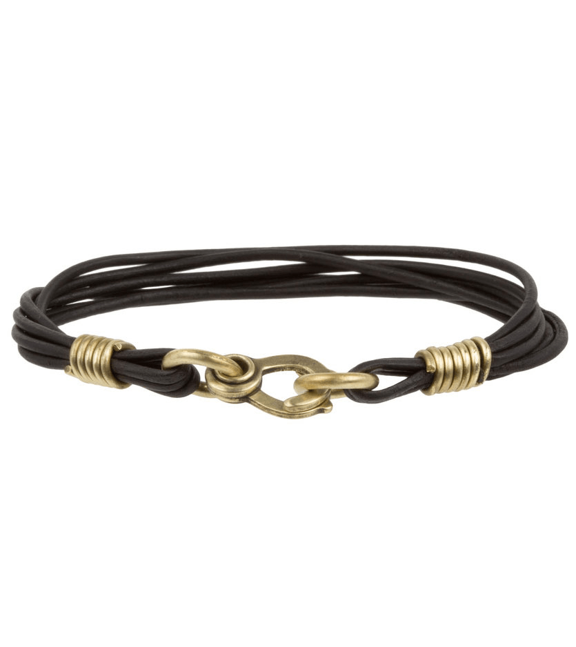 LHN Leather Strand Bracelet - Jewelry: Men's - Iron and Resin