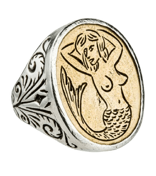LHN Mermaid Signet Ring - Jewelry: Men's - Iron and Resin