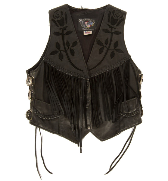 Vintage Black Leather Biker Vest w/Conchos, L