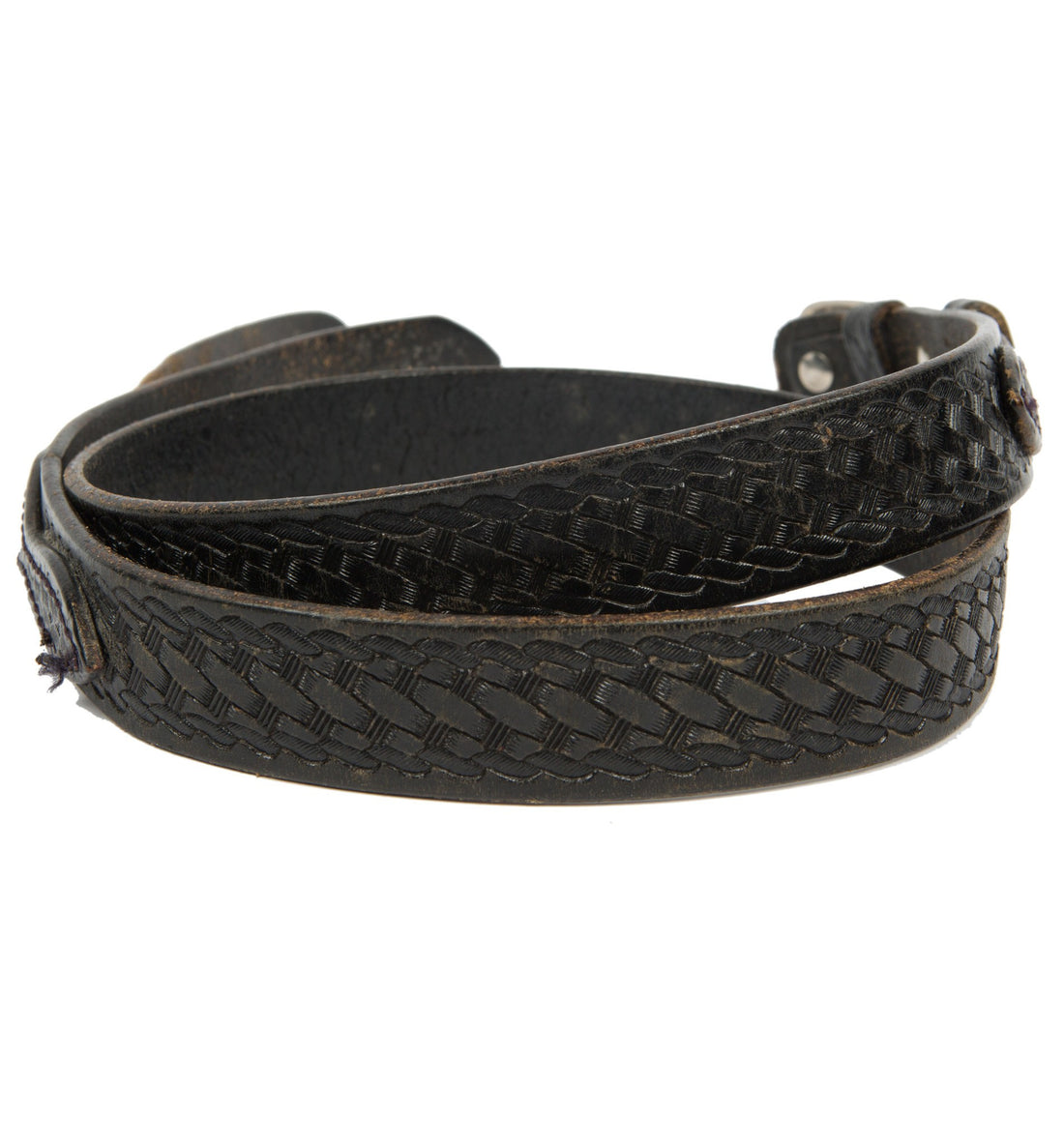 Vintage Black Leather Braided Belt, Size 40