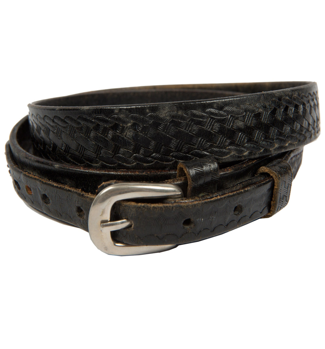 Vintage Black Leather Braided Belt, Size 40 - Vintage - Iron and Resin