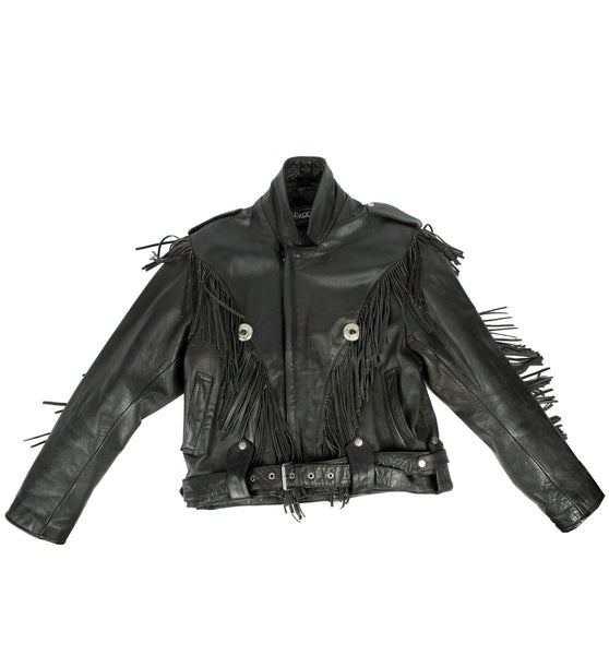 Vintage Black Leather Concho Fringe Moto Jacket, Size 42