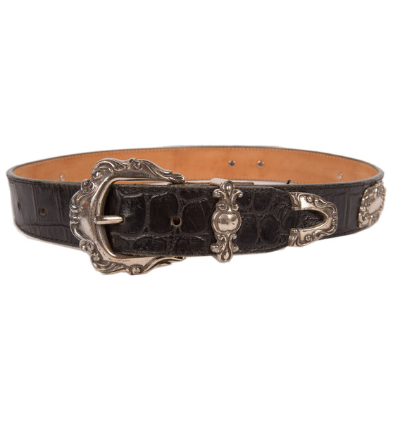 Vintage Black Leather Belt w/Metal Details