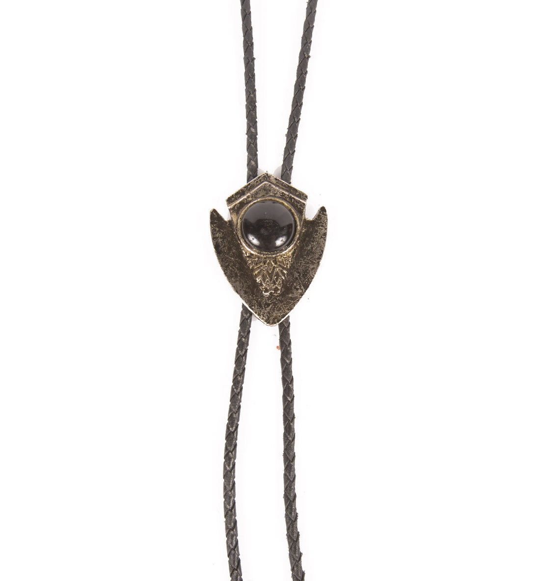 Vintage Black Marble Bolo Tie - Vintage - Iron and Resin