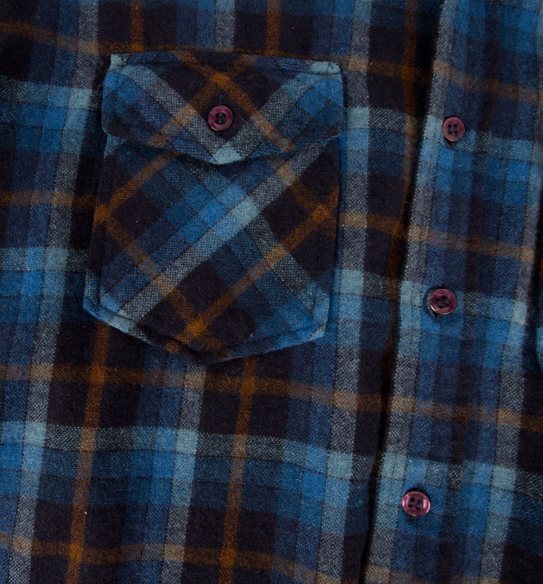 Vintage 70's Blue Wool Flannel, M/L - Vintage - Iron and Resin