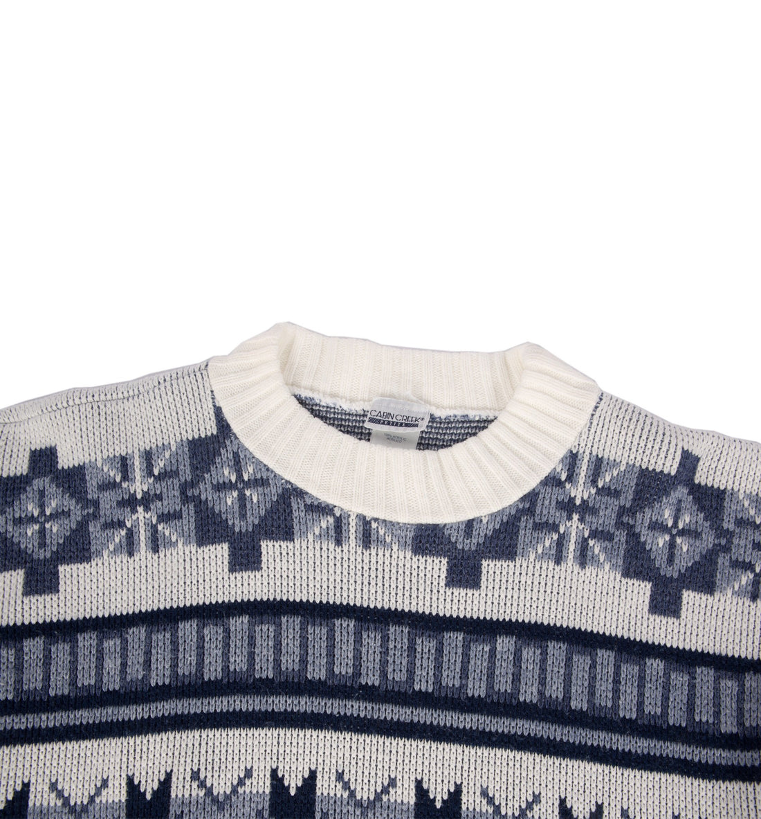 Vintage Blue/White Knit Pullover Ski Sweater - Vintage - Iron and Resin