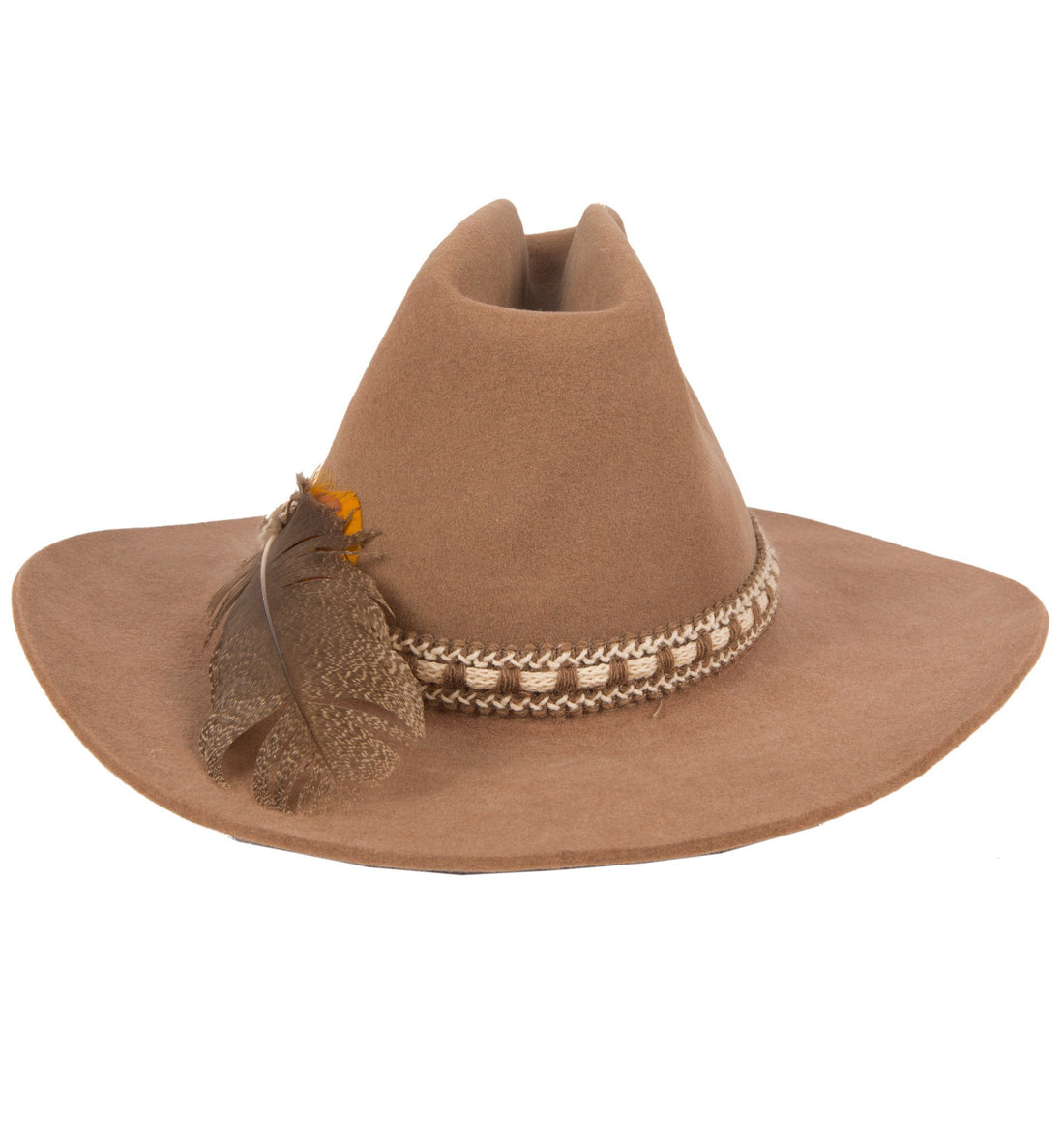 Vintage Brown Felt Bailey Hat w/ Feather Hat Band - Vintage - Iron and Resin