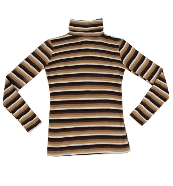 Vintage 70's Brown Stripe Turtle Neck, S