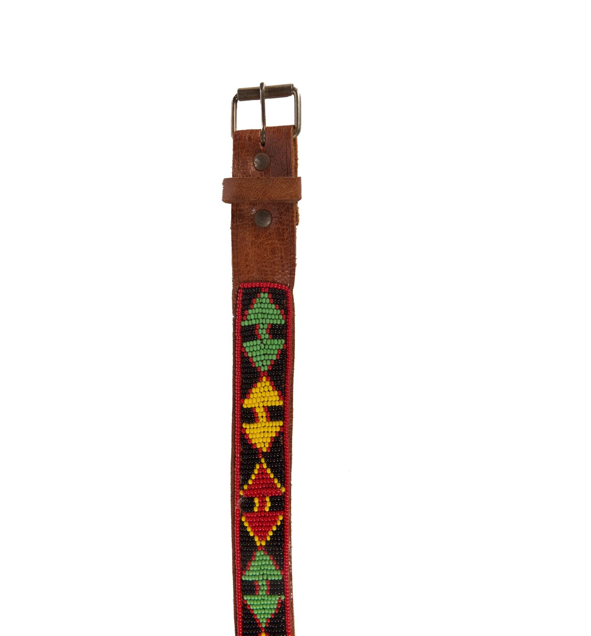 Vintage Brown Leather Beaded Belt, 28 - Vintage - Iron and Resin