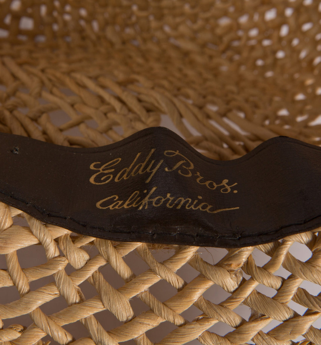 Vintage Eddy Bros California Straw Hat, 6 5/8 - Vintage - Iron and Resin