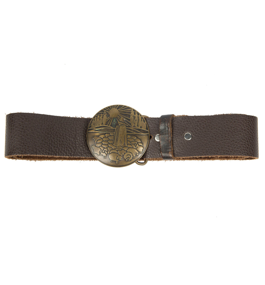 Vintage Brown Leather Shepard Buckle Belt, Size 34 - Vintage - Iron and Resin