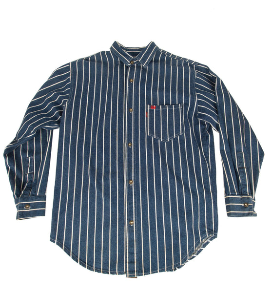 Vintage 60's Levis Blue/White Stripe Button Up Shirt