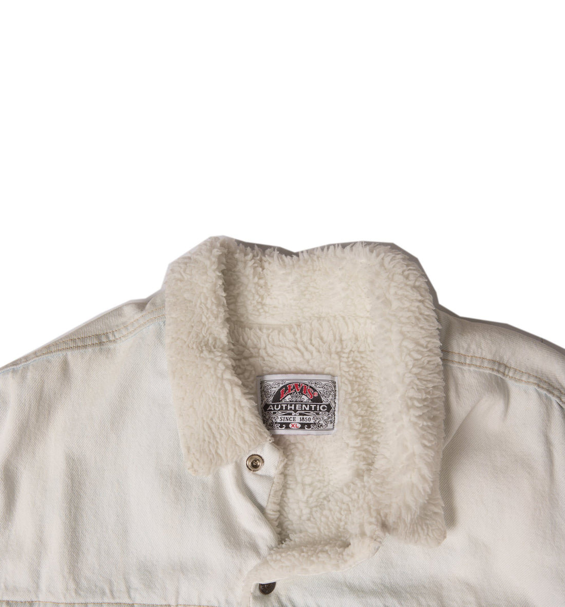Vintage 80's White Levis Sherpa lined Jacket - Vintage - Iron and Resin