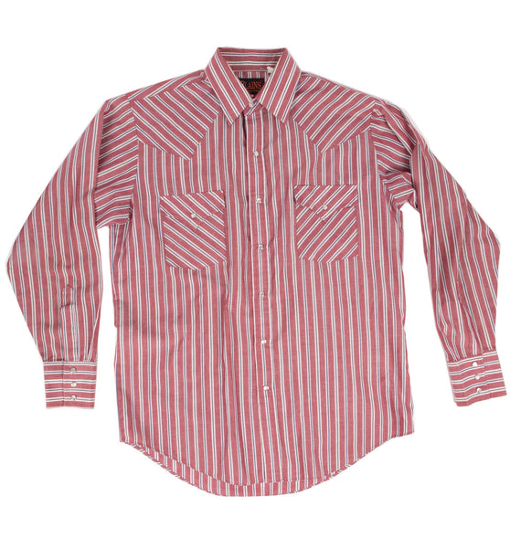 Vintage 70's Men's Plains Red Stripe Button Up Shirt