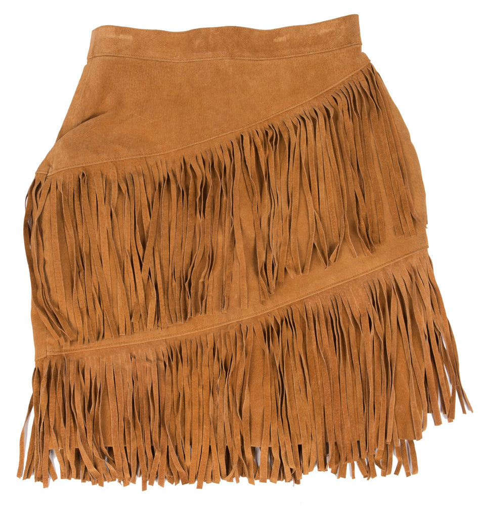 vintage 80 s fringe leather skirt 10 iron and resin