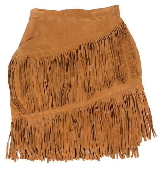 Vintage 80's Tan Fringe Leather Skirt, 10