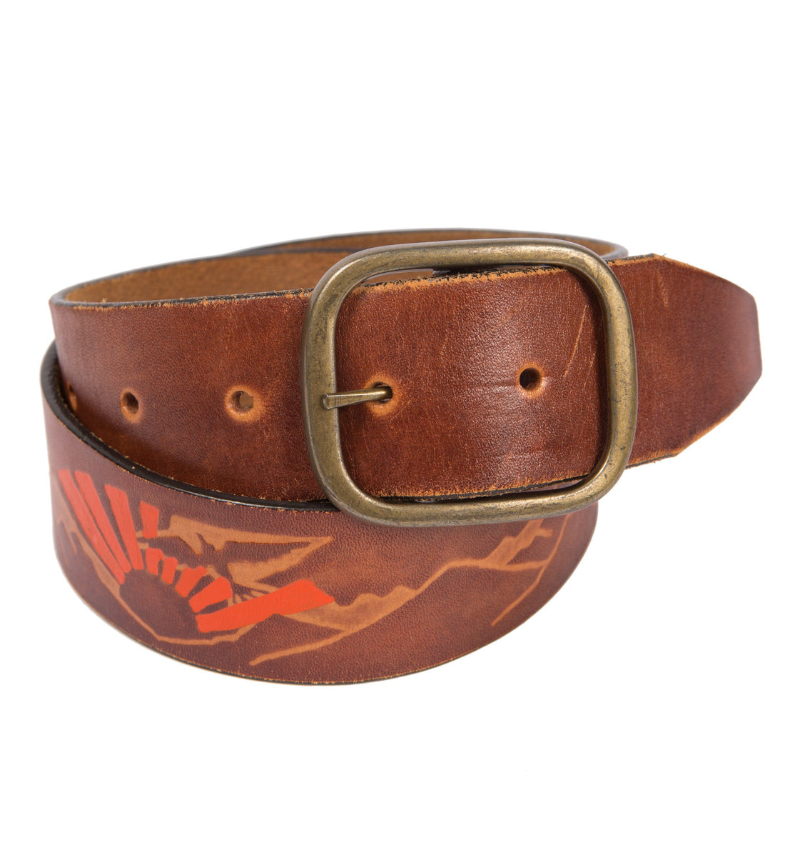 Vintage 70's Brown Tooled Horizon Belt, 32 - Vintage - Iron and Resin