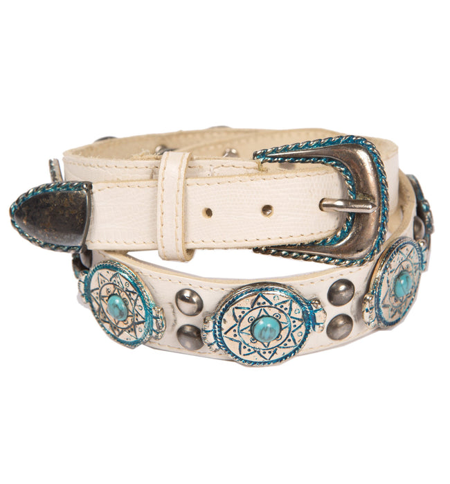 Vintage White Leather Belt w/ Turquiose, 29 - Vintage - Iron and Resin