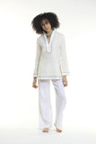 Cream linen tunic top with sand and ivory details. 100% linen, pre shrunk, linen bought locally from New York City.