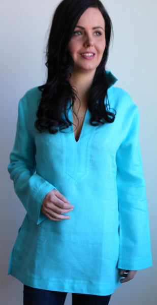 Aqua Monochromatic Linen Tunic XS TOP