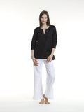 The Amber Top is easy to pull over and wear anytime.  It features a 3/4 sleeve, a round neck line with a 5 inch v-cut neck line, square hemline and box pleat detail in the back. Made of 100% European Linen or 100% cotton. Machine washable and dryer friendly.  Available linen colors are: white, navy, chocolate and Black. Available cotton colors: hot pink cotton and teal cotton.