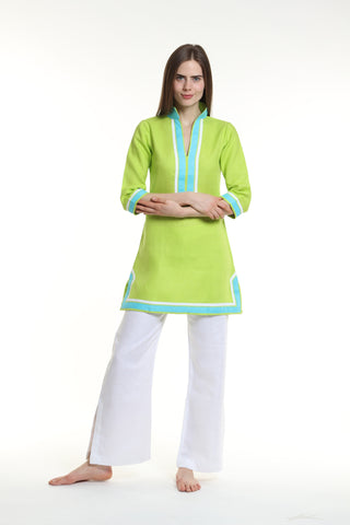 Lime green body, broad trim is aqua and thin trim is white.  100% linen, pre shrunk, machine washable and dryer friendly.