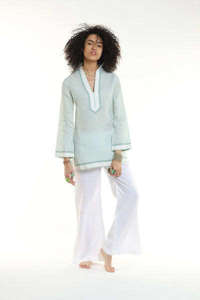 Pastel, sea foam green, linen tunic with cream and sage trim. 100%linen, bought locally in New York City.