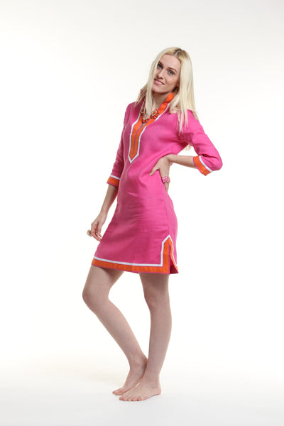 Fuchsia body, broad trim is orange and thin trim is white.  100% linen, pre shrunk, machine washable and dryer friendly.