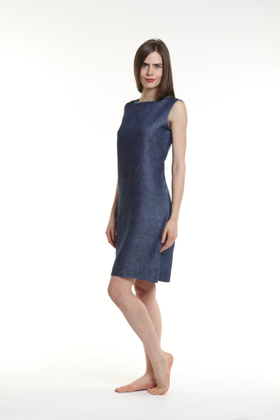 "Straight cut sleeveless dress, with wide round neckline. Single button back closure. Length is 39"".  Made out of 100% European Linen.   Colors available: navy, black, white,  canary yellow, denim. Machine washable and dryer friendly."