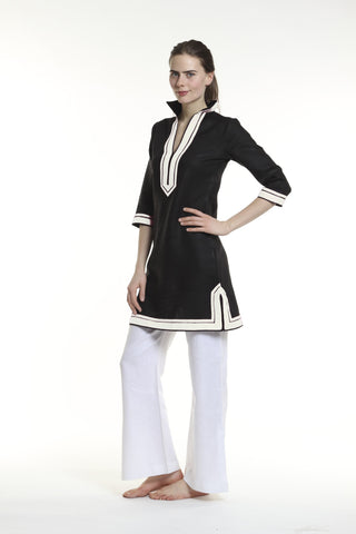 Black linen tunic dress with white details. 100% linen, pre shrunk, linen bought locally from New york City.